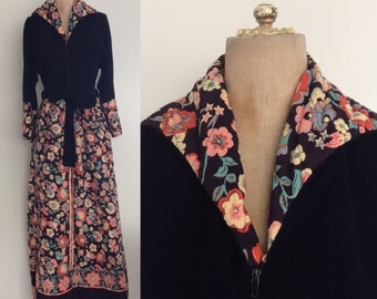 1970's Black Quilted Maxi Dress Vintage Lounge Dress Size Medium by Maeberry Vintage