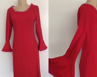 1960's Red w/ Pink Fringe Wool Mod Shift w/ Trumpet Sleeves Size Medium by Maeberry Vintage
