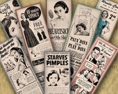 2x8 inch Digital Printable RETRO BOOK MARKS 2x8 inch - 8 Book Markers with Ads from the 50s-60s...Retro Beauty/Fashion