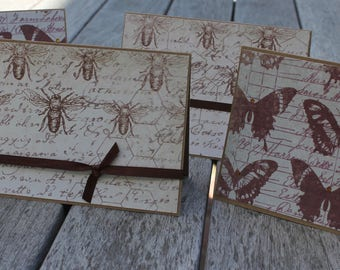 Rustic Butterflies and Bees Notecard Set, Blank Notecard Set, Rustic Blank Notecards, Bee Notecards, Butterfly Notecards