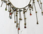 RESERVED Asymmetrical Chain Fringed Necklace, Whimsical Tattered Fringe Necklace, Bohemian Punk Bib Nicklace