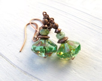 Bohemian Earrings, Clear Apple Green Drop, Long Copper Dangle, Czech Glass Jewelry, Bohemian Bijoux, Green Boho Chic Earring, Hippie Bijoux