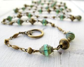 Long Single Strand Necklace, Long Blue Beaded Necklace, Bohemian Czech Glass Necklace, Boho Chic Jewelry, Antique Gold Bali Style Beads