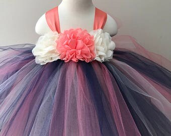 Coral Navy And Ivory Girls Tulle Dress Flower Girl Tutu