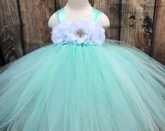 Aqua, mint and white girls tulle dress, seafoam girls tulle dress, girls summer wedding dress, girls tulle dress