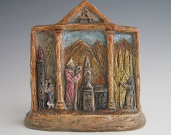 Patrons of Architects and Builders: Handmade Triptych of St. Bernward, St. Barbara, and Antoni Gaudi
