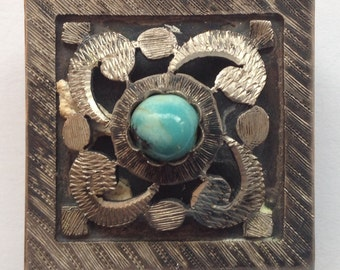 Sale Vintage Sterling and Turquoise Pill Box