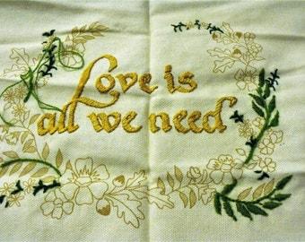Crewel Needlework Almost Finished/ Yarn, Partially Finished Stamped Fabric/ Vintage Needlework Supplies/ Shabbyfab Decor