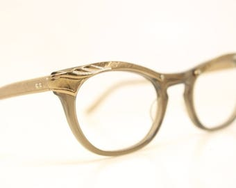 Unused Brown Combination vintage cat eye eyeglasses vintage cat eye glasses frames Cateye frames NOS