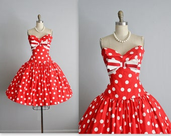 80's Victor Costa Dress // Vintage 1980's Red Polka Dot Cotton Strapless Cocktail Party Prom Dress S M