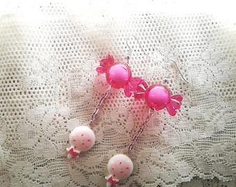 Kawaii Lolipop & Candy Earrings - Miniature food, deco candy earrings, cosplay, kawaii fake food