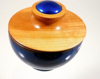 Pottery bowl with turned hardwood lid.