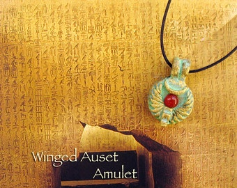 Small Winged Auset Symbolic Amulet - Egyptian Goddess - Handcrafted with Throne, Carnelian Solar Disc and Wing Motif - Brass Patina Finish