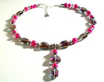 Begonia, Hot Pink Pearl & Rose Swarovski Crystal Lariat, Y Necklace, Statement Necklace, 2 Piece Set