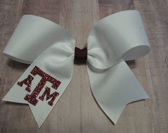 360 white ATM Aggie Cheer bow