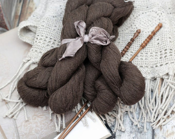Pure Yak Yarn -lace weight yarn TRIXIE  2-ply soft luxurious -natural chocolate brown