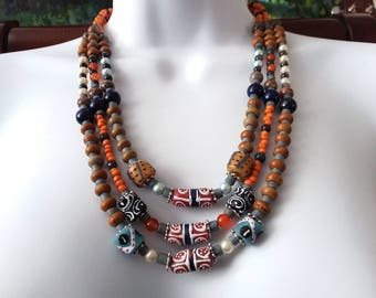 3 Strand African Krobo Trade Bead and Gemstone Tribal Necklace