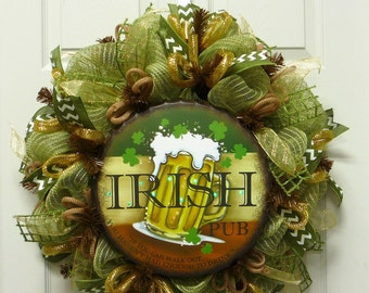 Irish St Patricks Day Wreath, St Patty Wreaths - Item 2457