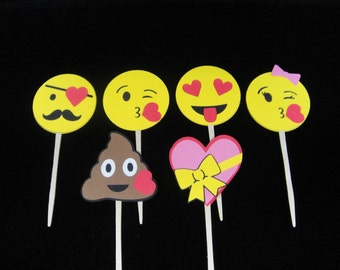 Emoji Cupcake Toppers, Valentine's Day Cupcakes, Paper Cupcake Toppers, Cupcake Decorations, Paper Toppers, Mother's Day Toppers -Qty 12