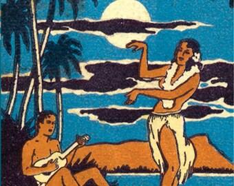 Tropical Hawaiian Matchbook Wall Decor Hula Dancer Wall Art Tropical Wall Decor Hawaiian Beach Wall Art Print Tropical Island Poster Decor