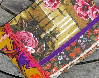WOW! SALE RETRO Cushion, Funky Mustard , Pink and Purple Vintage Fabric and Barkcloth