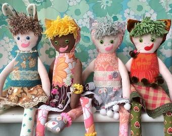 Custom Made RETRO  Rag Doll  , Boy / Girl , Afro skin tones / pale skin tones / freckles  ,  cat / rabbit / bear options
