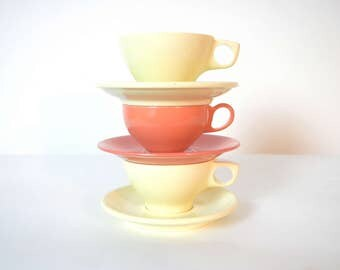 Mid Century Boontonware and Russell Wright Orange and Yellow Melamine Cups and Saucers