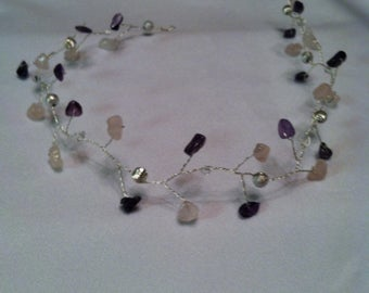 Bridal amethyst hair vine tiara