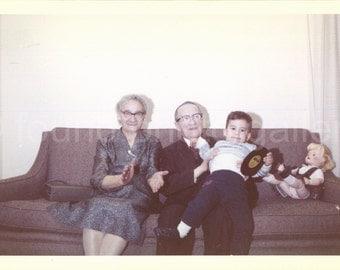 Digital Download, Grandma Clapping, Grandpa Holding Grandson, Baby Doll, Record Album, Color Photo, Snapshot, Found Photo, Printable