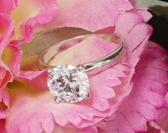 14k White Gold Round Cut Forever One Moissanite Engagement Ring Deco, Bridal, Wedding, Anniversary, Four prong set, Solitaire 2.00ctw