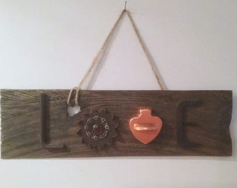 """Salvaged """"LOVE""""  Shingle...Original Rustic Art from Found Objects, Wall Decor, Home Decor, Mixed Media"""
