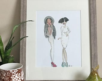 Pose- Fashion Illustration, Fashion Art print, Fashion Wall art, Illustration, Wall art print by LeMahogany Art