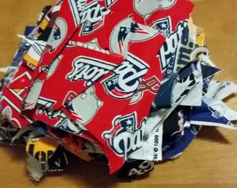 Football fabric scraps, cotton quilt scraps, sewing supplies