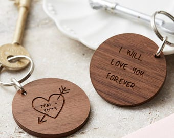 Personalised Carved Heart Keyring