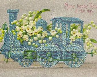 Vintage Birthday Postcard Train of Forget-me-Nots Filled With Lily-of-the-Valley – Stunning Embossed Floral Postcard 1912