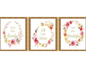 Set of 3 Custom Name Nursery Printable Art, Isn't she lovely, Watercolor Printable Art Print baby girl decor Instant Download, Digital File