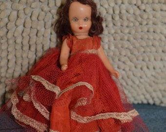 Nancy Ann Storybook Doll, Auburn Hair, Movable Arms, Legs, Eyes, Bisque, 1940's