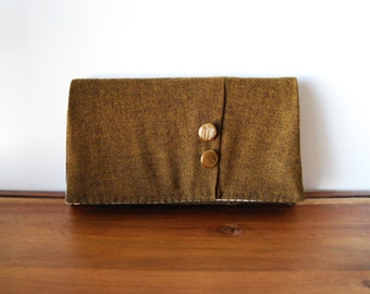 Olive Wool Trifold Clutch Wallet with Buttons and Light Floral Interior