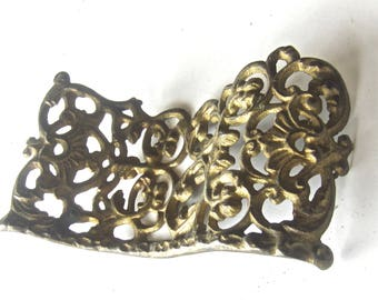 Wavy Wimsical Old Exquisite Stamped Brass Fancy Embellishment Applique - Superb Mossy Original Patina