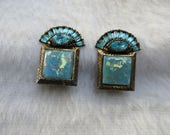 Art Deco Style Blue Opal Like Glass Clip on Vintage Earrings Light Blue Beautiful and Unique Art Decor Style Square Clip on Earrings