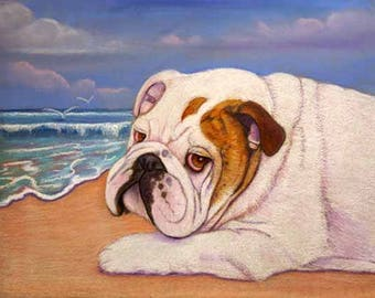 English Bulldog dog on beach painting art dog surf sea wind Original Pastel painting beach