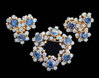 Vintage Montana and Light Sapphire Rhinestone Floral Cluster Brooch and Earring Set