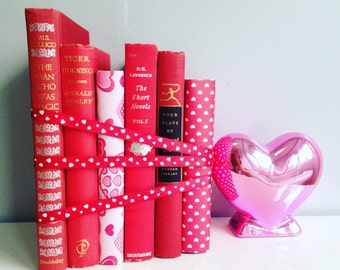 Red Books Valentines Day Bundle vintage Decorative Books Instant Library Collection Photography Props Pink Hearts LOVE