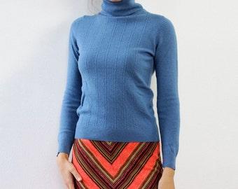 Angora Sweater S • 70s Sweater • Vintage Turtleneck • Talbots Wool Sweater • Turtleneck Sweater • Light Blue Sweater | T753