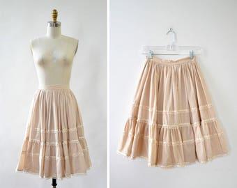 Vintage Petticoat Skirt XS • 70s Skirt • Tiered Skirt • Western Skirt • Prairie Skirt • High Waisted Skirt • Cotton Skirt | SK794