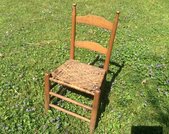 Primitive 1800's Chair, Hand Carved Hickory Splint Seat Chair, Log Cabin, Rustic Chair