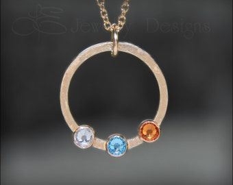 Gold MOTHERS BIRTHSTONE NECKLACE - mothers necklace, family necklace, grandmothers pendant, birthstone pendant, circle necklace, eternity