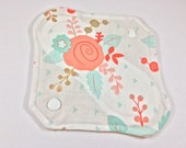 "Cloth Panty Liner 8"" Coral Floral"
