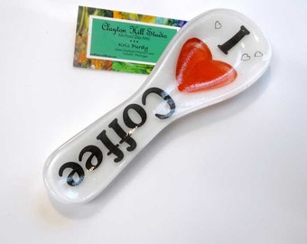 Fused Glass Spoon Rest - Coffee <3