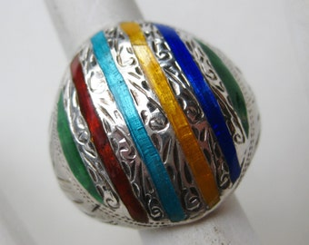 Vintage Ring Sterling Silver Guilloche Enamel Stripe Ring size 7
